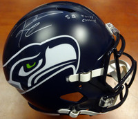"Russell Wilson Autographed Seattle Seahawks Full Size Speed Replica Helmet in Silver ""SB XLVIII Champs"" RW Holo"