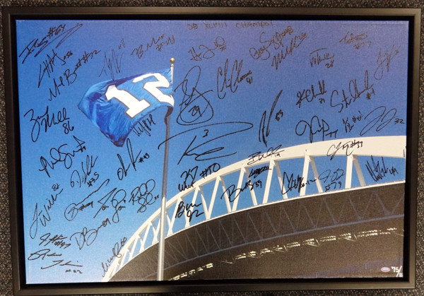 "2013 Seattle Seahawks Super Bowl Championship Team Multi Signed Autographed Framed 20x30 Canvas Photo With 42 Signatures Including Russell Wilson & Marshawn Lynch ""SB XLVIII Champs!"" #/112"