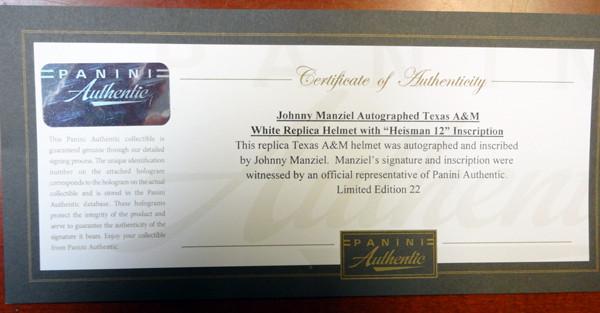 "Johnny Manziel Autographed Texas A&M Aggies Helmet ""12 Heisman"" #1/50 Panini Holo"