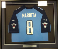 Marcus Mariota Autographed Blue Tennessee Titans Nike Framed Jersey MM Holo