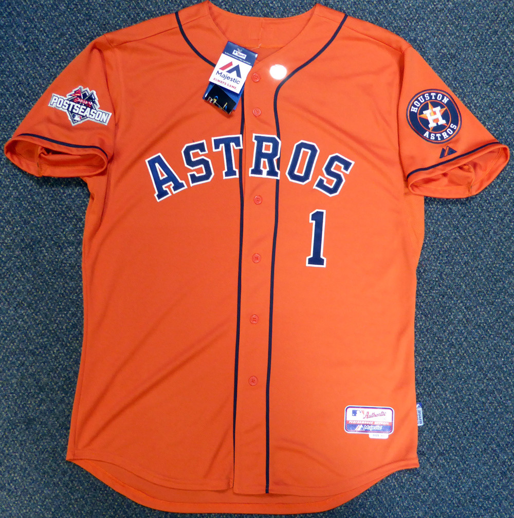 Houston Astros Carlos Correa Autographed Authentic Majestic Orange Jersey Size 48 2015 Postseason Patch MLB Holo