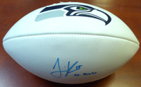 "Jermaine Kearse Autographed Seattle Seahawks White Logo Football ""Go Hawks"""