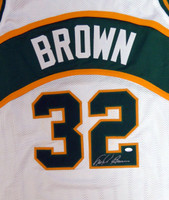 Seattle Sonics Fred Brown Autographed White Jersey MCS