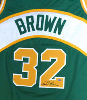 Seattle Sonics Fred Brown Autographed Green Jersey MCS