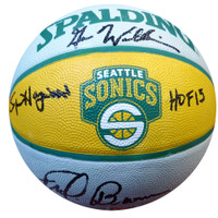 """Fred Brown, Gus Williams & Spencer Haywood """"HOF 15"""" Autographed Seattle Sonics Basketball - MCS COA"""