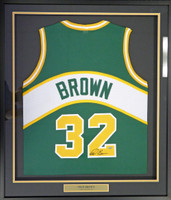 Seattle Sonics Fred Brown Autographed Framed Green Jersey MCS Holo