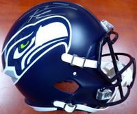 Russell Wilson Autographed Seattle Seahawks Speed Full Size Helmet In Silver - Russell Wilson COA