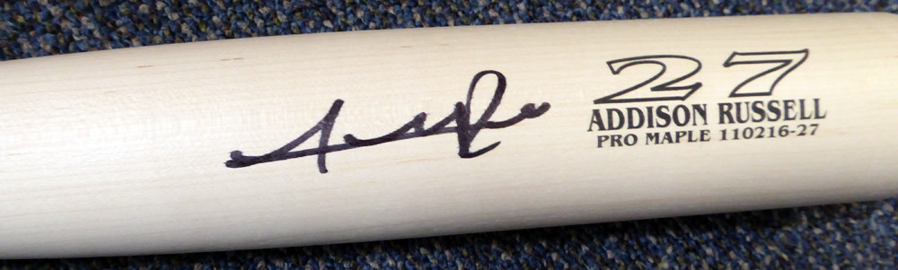 Addison Russell Chicago Cubs Autographed Zinger Game Model Bat - MLB COA