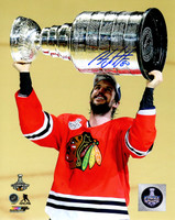 Antoine Vermette Signed Chicago Blackhawks 2015 Stanley Cup Trophy 8x10 Photo
