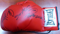 Boxing Greats Autographed Red Everlast Boxing Glove With 3 Signatures - PSA/DNA!!