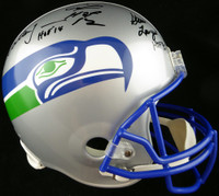 Seattle Seahawks Ring Of Honor Autographed Throwback Full Size Helmet With 5 Signatures - Beckett COA