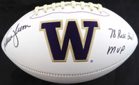 "Warren Moon Autographed Washington Huskies White Logo Football ""78 Rose Bowl MVP"" MCS Holo"