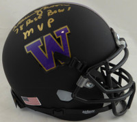 "Warren Moon Autographed Washington Huskies Matte Black Mini Helmet ""78 Rose Bowl MVP"" MCS Holo"