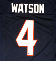 Houston Texans Deshaun Watson Autographed Blue Jersey Beckett BAS