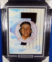 "Mickey Mantle Autographed Framed 18x24 NY Yankees Lithograph Photo ""No. 7"" PSA/DNA #J27289"