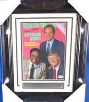 Mickey Mantle, Willie Mays & Peter Ueberroth Autographed Framed Sports Illustrated Magazine PSA/DNA #W00249