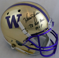 "Warren Moon Autographed Washington Huskies Full Size Schutt Replica Gold Chrome Helmet ""78 Rose Bowl MVP"" MCS Holo"