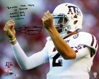 """Johnny Manziel Autographed 16x20 Photo Texas A&M Aggies """"Rolled The Tide In Bama"""" Beckett BAS"""