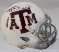 "Johnny Manziel Autographed Texas A&M Aggies White Speed Mini Helmet ""12 Heisman"" Beckett BAS"
