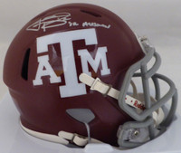 "Johnny Manziel Autographed Texas A&M Aggies Maroon Speed Mini Helmet ""12 Heisman"" Beckett BAS"