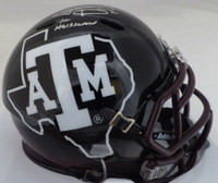 "Johnny Manziel Autographed Texas A&M Aggies Black Speed Mini Helmet ""12 Heisman"" Beckett BAS"