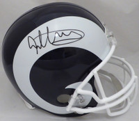 Todd Gurley Autographed Los Angeles Rams White & Blue Full Size Replica Helmet Beckett BAS