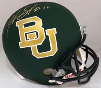 Josh Gordon Autographed Baylor Bears Matte Green Full Size Replica Helmet Beckett BAS