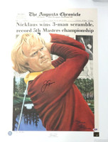 This is a lithograph, approximately 20 x 27 1/2, that has been hand signed by Jack Nicklaus. The autograph has been certified authentic by PSA/DNA and comes with their sticker and matching certificate of authenticity.  There is a rip on the photo