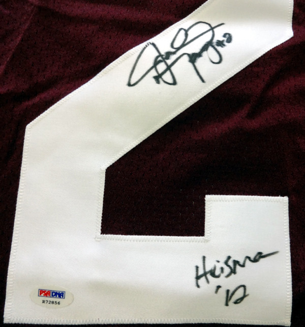 "Johnny Manziel Autographed Texas A&M Aggies Maroon Jersey ""'12 Heisman"" PSA/DNA RookieGraph Stock"