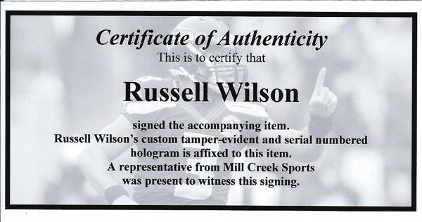 Russell Wilson Autographed Seattle Seahawks Blue Nike Elite Jersey Size 48 RW Holo