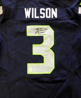 Russell Wilson Autographed Seattle Seahawks Blue Nike Elite Jersey Size 52 RW Holo Stock