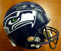 "Russell Wilson Autographed Seattle Seahawks Full Size Helmet ""SB XLVIII Champs"" in Silver RW Holo"