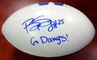"Bishop Sankey Autographed White Logo Football Washington Huskies ""Go Dawgs!"""