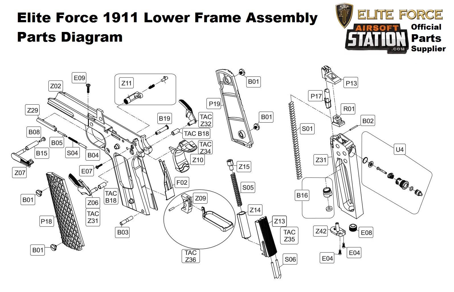 Umarex Elite Force/KWC 1911 A1 & TAC CO2 Pistol Parts