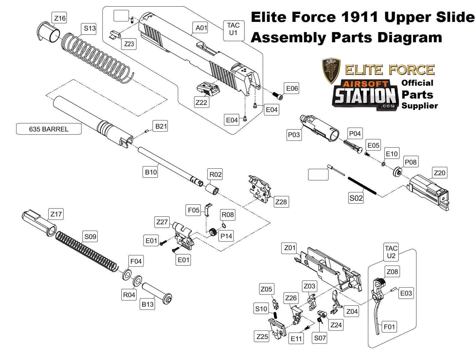 umarex elite force kwc 1911 a1 tac co2 pistol parts rh airsoftstation com M4 Carbine Parts Diagram airsoft gun parts diagram and dimensions