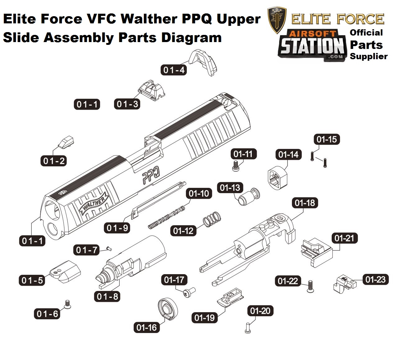 umarex elite force vfc walther ppq green gas pistol parts walther ppk 380 exploded-view umarex, elite force, & vfc ppq upper slide assembly