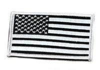 American Flag Velcro Patch, Black/Silver