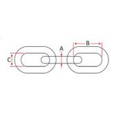 Galvanised chain calibrated short link per metre