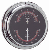 Brass Thermometer & Hygrometer -  Black Face - 95mm