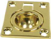 Flush Pull Ring - Rectangular Brass