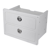Double drawer with stainless steel latches