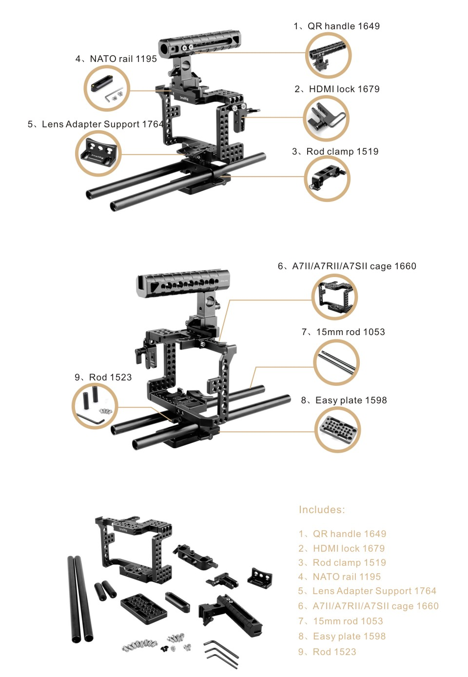 SMALLRIG SONY A7II/A7RII/A7SII/ILCE-7M2/ILCE-7RM2/ILCE-7SM2 Accessory Kit