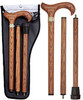 Genuine Oak Wood Derby 3 piece Walking Cane and Brass Embossed Collar