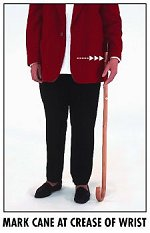 How to measure a walking cane
