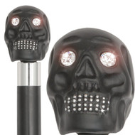 Black Skull Head With Swarovski Crystal Eyes and Teeth-Italian Handle w/ Custom Handle and Collar