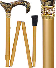 Golden Sienna Pearlz w/ Rhinestone Collar Designer Adjustable Folding Cane