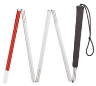 "44"" Folding Red Tipped Walking Cane For The Blind"