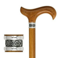 Afromosia Wood Walking Cane With Pewter Collar
