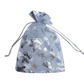 "10 Organza Gift Jewelry Pouch Wedding Favor Bag 5x7"" Silver Snowflake"