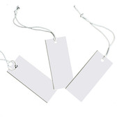 "Tie-On Elastic String Price Label Tag White 1.5"" Plain"